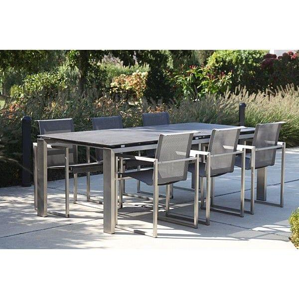 La table wings chrominox plateau en c ramique structure - Plateau pour table exterieur ...
