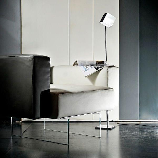 square a reading lamp in polished aluminum deco and design. Black Bedroom Furniture Sets. Home Design Ideas