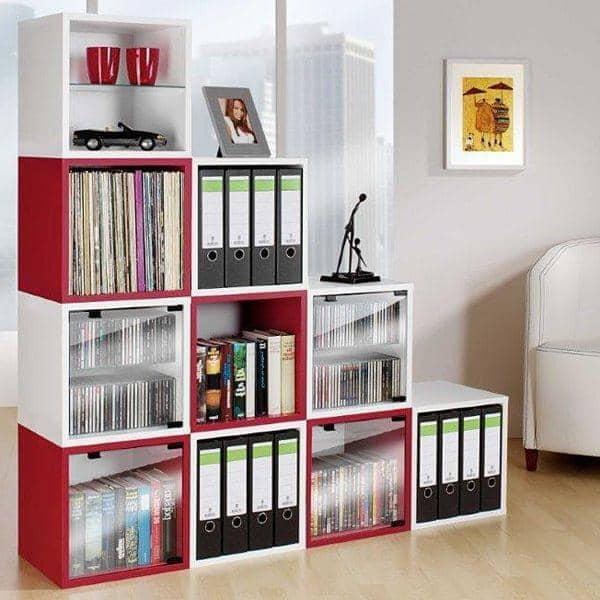 cube mensole laccate, mdf o legno - attraverso ripiano in vetro di ... - Porte In Legno Di Design Di Alta Sicurezza