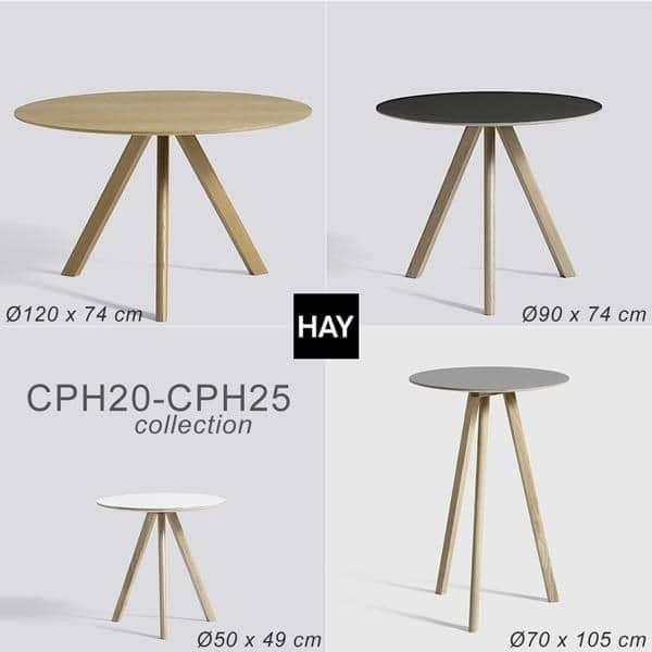 A COPENHAGUE mesa redonda CPH20 e CHP25, feito em madeira maciça e compensado, por Ronan e Erwan Bouroullec - deco e design