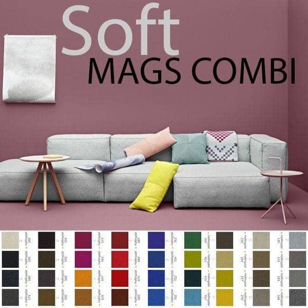 MAGS SOFA SOFT, mit umgekehrten Nähten, Kombinationen, Stoffen und Leder, HAY