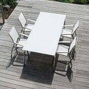 Indoor and outdoor ALCEDO armchair, with trimmed armrest, high backrest, stainless steel and BATYLINE, Ref 2M2, made in Europe