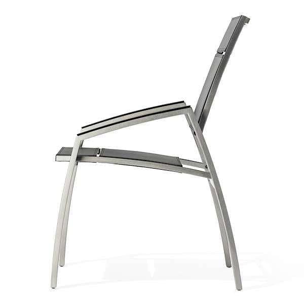 Lenestol, ALCEDO, rustfritt stål og vinyl SKAI, trimmet armlener, innendørs og utendørs, laget i Europa av TODUS - designet av JIRI SPANIHEL