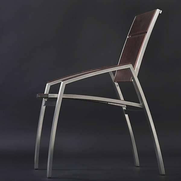 Fauteuil ALCEDO, inox brossé et Cuir teinté, accoudoirs garnis, indoor / outdoor, fabriqué en Europe