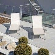 Sunlounger with integrated extension table, ALCEDO, stainless steel and BATYLINE, indoor and outdoor, made in Europe by TODUS - designed by JIRI SPANIHEL