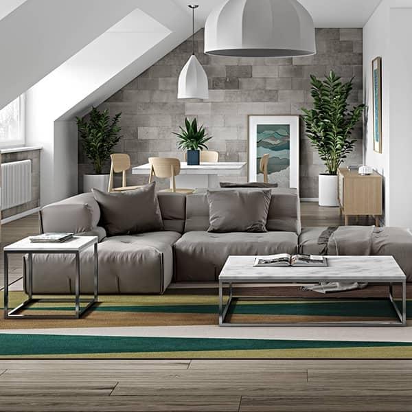 PRAIRIE, table basse et table d'appoint, en placage de bois ou marbre, de jolies réalisations, bien dans l'air du temps ! - desi