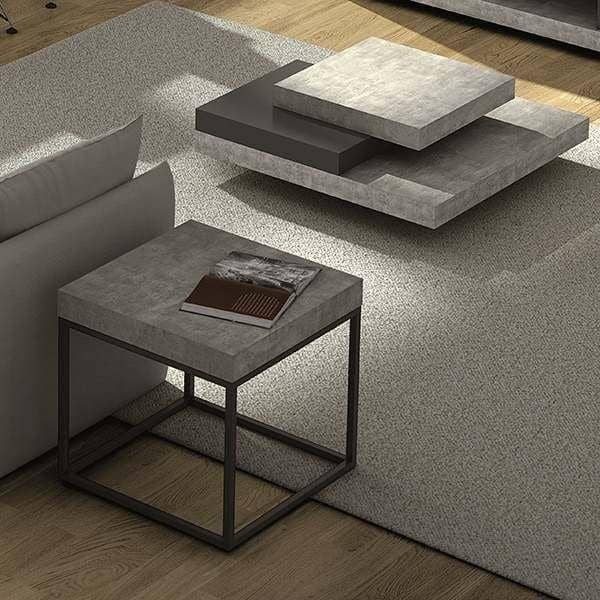 PETRA, coffee table and side table : concrete aspect and steel, without concrete - designed by INÊS MARTINHO