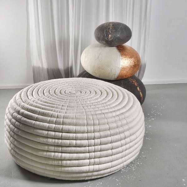 ndebele an ottoman or coffee table in merino wool handmade ronel jordaan. Black Bedroom Furniture Sets. Home Design Ideas