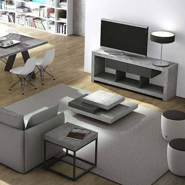 NARA, TV mesa que encuentra su lugar en una pared o en medio de la sala de estar, también disponible en aspecto concreto - diseñado por TEMAHOME