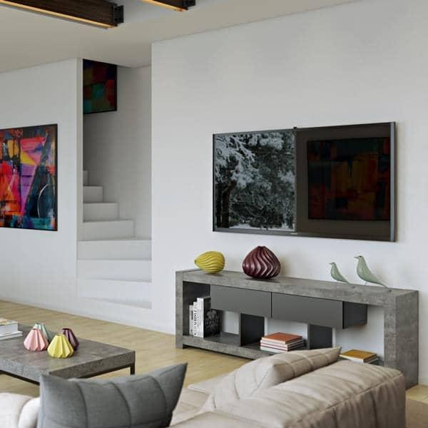 nara meuble tv qui trouvera sa place adoss un mur ou au milieu du salon designer temahome. Black Bedroom Furniture Sets. Home Design Ideas