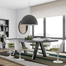 APEX dining table, compact or extendable 200/250 cm x 100 cm: concrete aspect or wild oak - Designer: Vincente Délio
