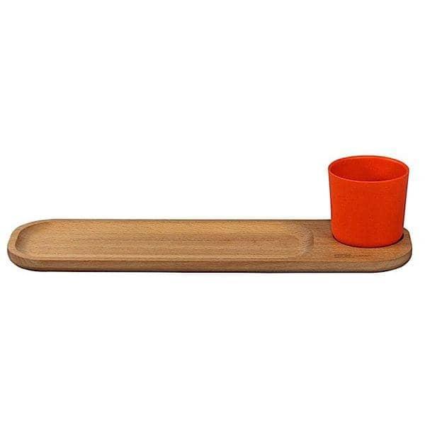 Bistro 2, planche petit déjeuner avec son gobelet, hêtre massif et fibres de bambou, design éco-responsable