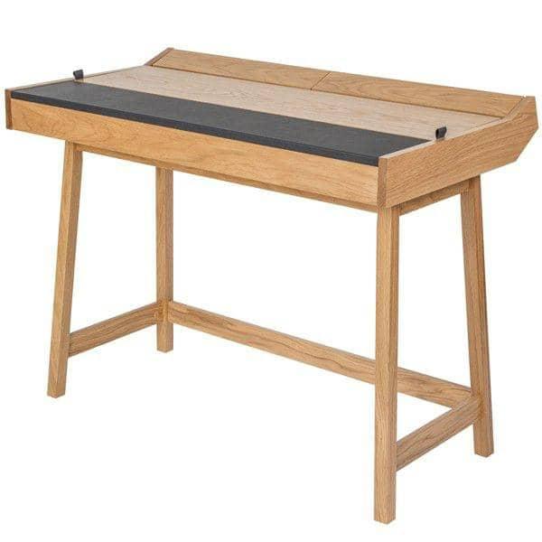 Unik RETRO, en funktionel skrivebord 3 klapper, eg og læder RE48