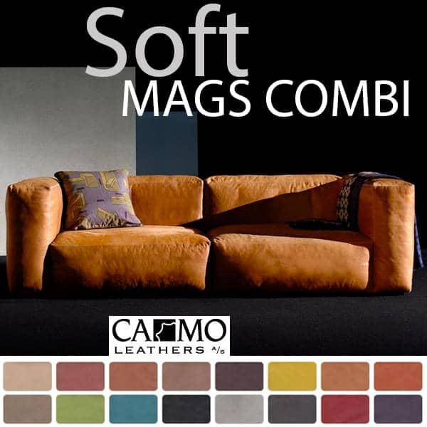 MAGS SOFA SOFT, modulære kombinationer, i læder, HAY