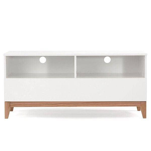 Meuble TV BLANCO, 120 x 48 x 55 cm, en chêne et bois peint blanc mat, 1 grand tiroir, 2 niches