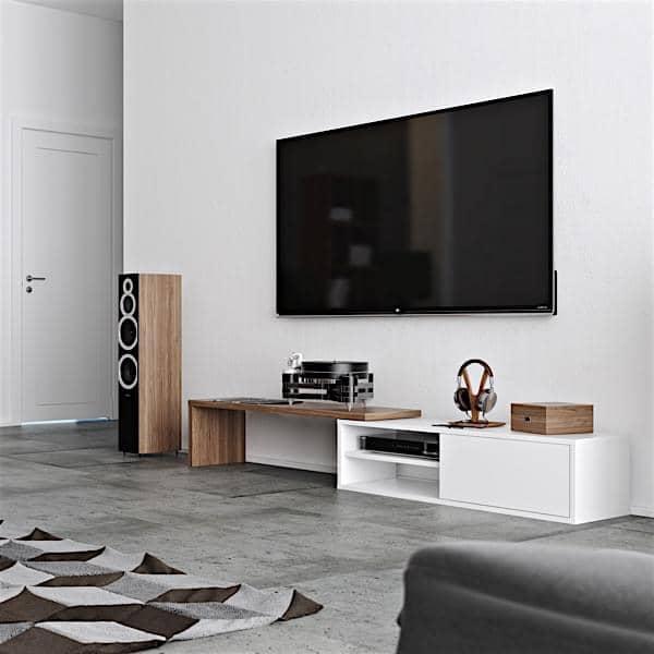 MOVE, eine ausfahrbare und schwenkbare TV Ständer, eine praktische Konzept, zu allen Räumen angepasst.