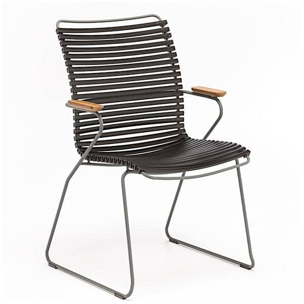 Jantar cadeira, CLICK SYSTEM, encosto alto, resina e aço, ao ar livre, por HOUE