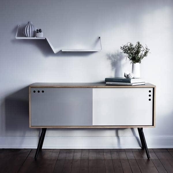 fold powder coated metal shelf black or white studio design nur for woud. Black Bedroom Furniture Sets. Home Design Ideas