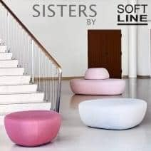 SISTERS, a collection of three poufs, organic, sculptural and versatile. SOFTLINE