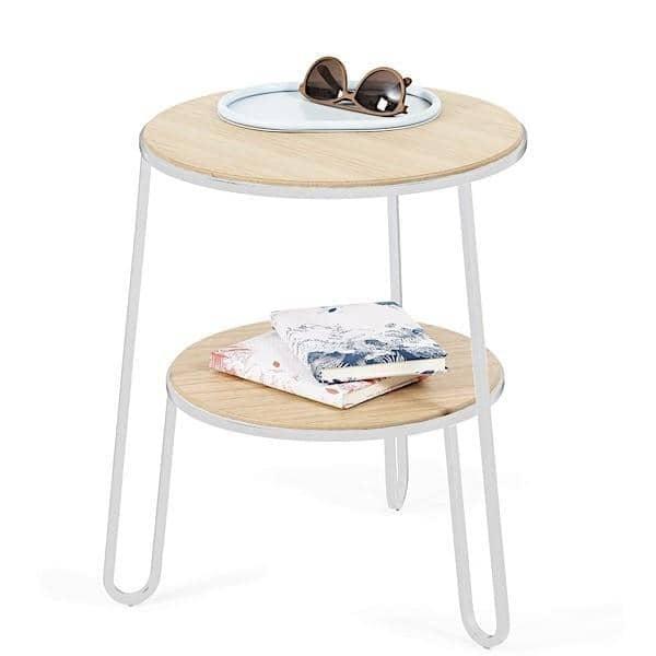 שולחן אנטול בצד השולחן על ידי Hartô, פורניר אלון וצינורות פלדה