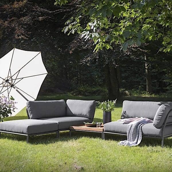 Salon de jardin LEVEL à composer, de haute qualité, canapé, pouf et table basse