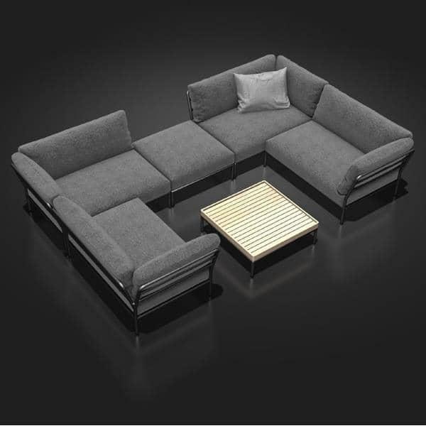 花园家具LEVEL组成,高品质,沙发,奥斯曼和咖啡桌