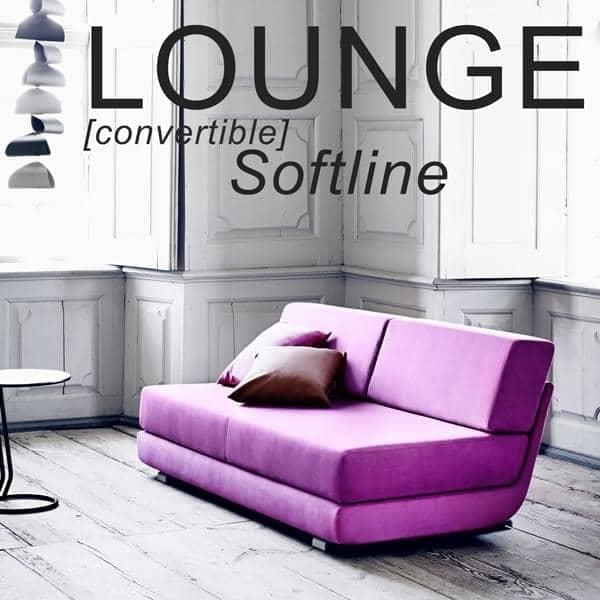 LOUNGE, sofa 3 places convertible, méridienne et pouf. SOFTLINE