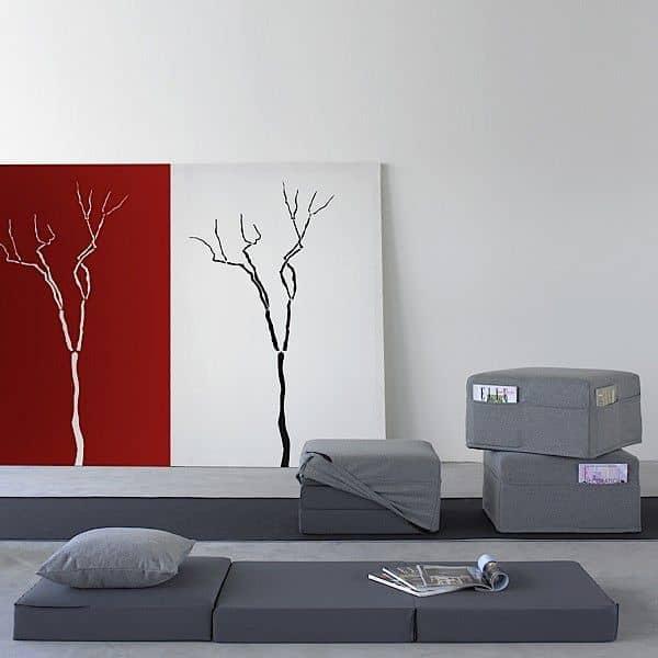 TRIO er en funksjonell design pouf, salongbord og sporadisk seng - deco og design, SOFTLINE