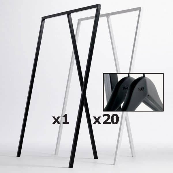 SET : 1 LOOP Stand Garderobe + 20 Soft Coat Hangers: nordisk design til den bedste pris