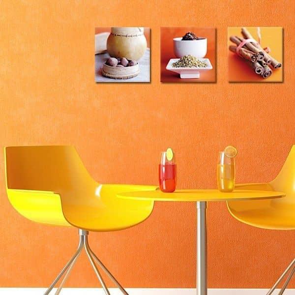 Tríos de fotografías de arte impresas en lienzo y montadas en bastidores - elegante y moderno y decorativo