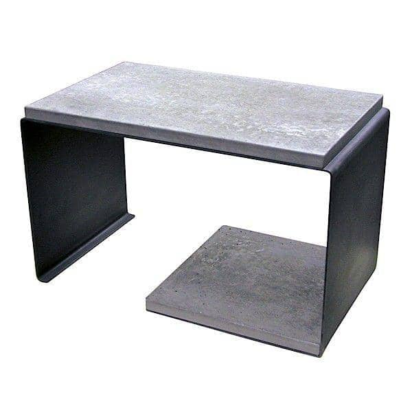 TETRIS, extra table made out of concrete and patinated steel - Created and made in France
