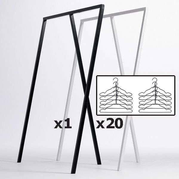 SET : 1 LOOP supporto armadio + 20 ganci a filo nero, HAY : design nordico al suo miglior prezzo