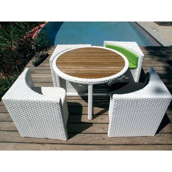 Salon De Jardin Proximity Structure Aluminium Resine Tressee Traitee Anti Uv Avec Ses Coussins Assortis