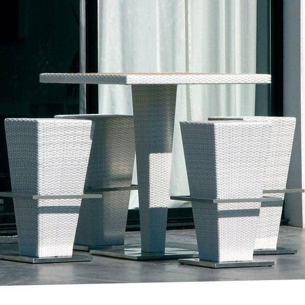 Ensemble table haute et tabourets COMPACT-HI, structure aluminium, résine tressée traitée anti-UV