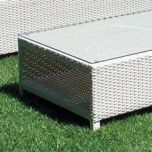 Salon de jardin COMPACT WHITE, structure aluminium, résine tressée traitée  anti-UV