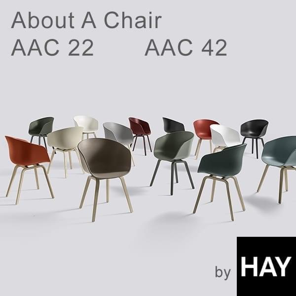 ABOUT A CHAIR - ref. AAC22 og AAC42 - Polypropylene skall, valgfri fast pute, struktur i eik, to mulige høyder, HEE WELLING og HAY
