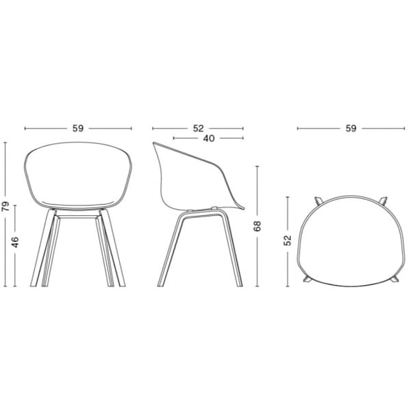 Le fauteuil About a Chair par HAY - réf. AAC22 et AAC42 - assise en polypropylène, coussin fixe en option, piétement en chêne, 2 hauteurs pour l'assise - l'art du design nordique