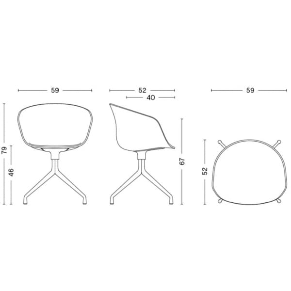Le fauteuil About a Chair par HAY - réf. AAC21 - Structure en polypropylène, assise intégrale en tissu, montée sur mousse Oeko-T