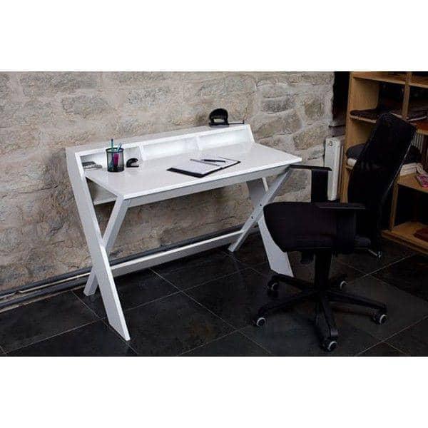 RAVENSCROFT Schreibtisch - Eiche und Nussbaum, ultra funktionalen, Deko und Design mit seinen gekreuzten Beinen